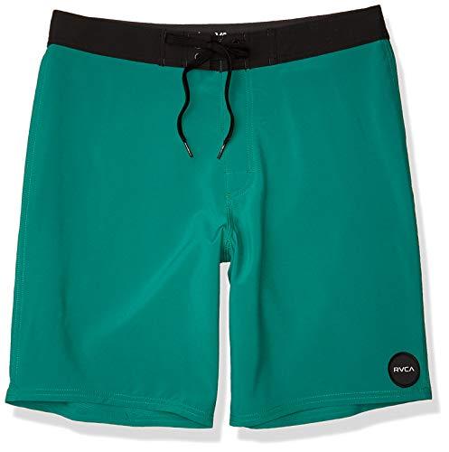 Rvca VITAL TRUNK Maui Blue Print White Swim Trunks Discounted Men/'s Boardshorts