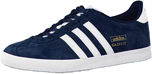 adidas Herren Gazelle OG Low-Top, Blau (Dark Indigo/Running White FTW/Metallic Gold), 42