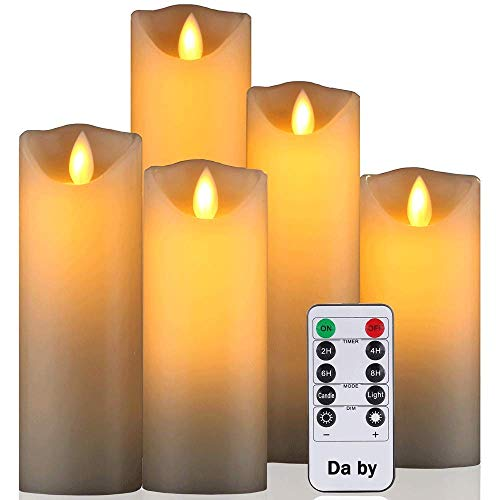 Da by Flameless Candle 5' 6' 7' 8' 9' Set of 5 Realistic Dancing LED Flickering Wick for Parties,Home,Public Elegant Events, Battery Powered, 10-Key Remote Control, Ivory Color