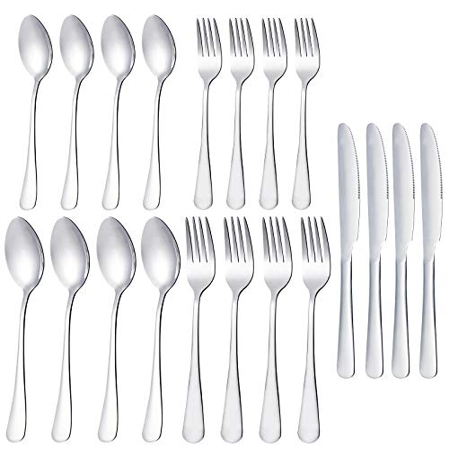 20-Piece Silverware Flatware Cutlery Set, Stainless Steel Utensils Service for 4, Include Knife/Fork/Spoon, Mirror Polished, Dishwasher Safe (Silver)