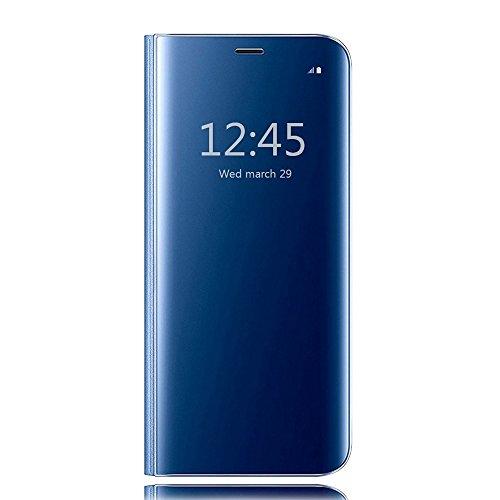 HiChili Coque Miroir pour Samsung Galaxy S8 Plus Flip Bookstyle Coque de Protection Clair Mirror Translucide Anti-empreintes Housse Plating Cover Fashion Creative Design Dur PC Plastique Case, Bleu