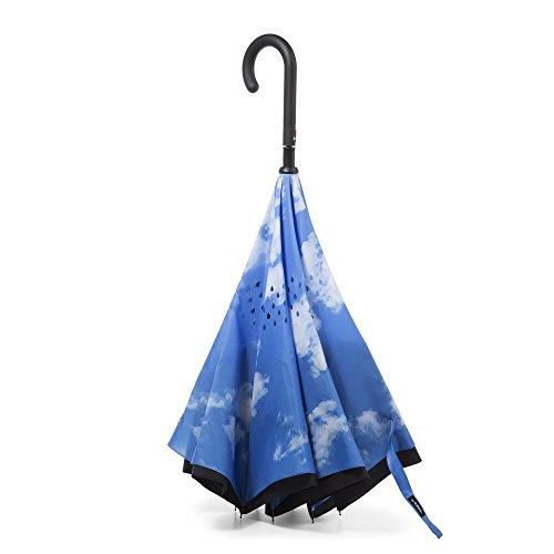 totes InBrella Reverse Close Umbrella, Sky