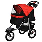 PawHut Luxury One-Click Folding Pet Stroller Dog/Cat Travel Carriage with Wheels Adjustable Canopy Zippered Mesh Window Door Red and Black