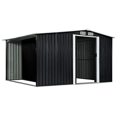 Tidyard Gerätehaus mit Schiebetüren und 4 Lüftungsklappen Geräteschuppen Outdoor Gartenhaus Schuppen Metallgerätehaus Anthrazit 329,5×205×178 cm Stahl