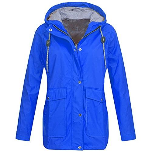 XOXSION Chubasquero para mujer, monocolor, para exterior, de gran tamaño, con capucha, resistente al viento, impermeable, resistente al sol, transpirable, chaqueta softshell A azul. 5X-Large