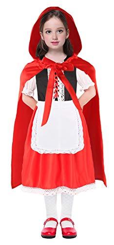 Seawhisper Rotkäppchen Kostüm Mädchen Faschings-kostüme Halloween Kostüm Kinder mit Umhang Kleider 122 128 104 110 116 134 140 146 152