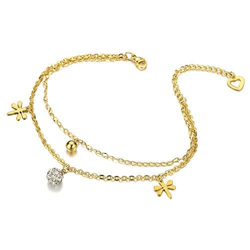 Acciaio Inossidabile Color Oro Cavigliera da Donna con Libellule Charms con Zirconi