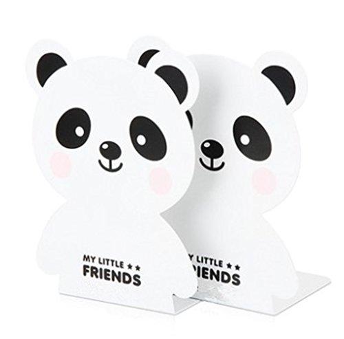 Kids Panda Metal Bookends for Nursery Shelves Girls Present - White