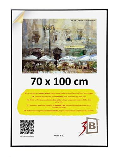 3-B Bilderrahmen Poster - Posterrahmen mit Polyesterglas und Schutzverpackung - Schwarz - 70x100 cm (B1)