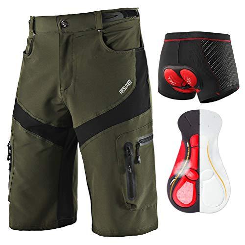 NaNaLi Pantalones Cortos De MTB Holgados para Hombre, Pantalones Cortos De Bicicleta De Montaña Descenso, Ropa Interior De Ciclismo con Almohadilla para Asiento Acolchado De Gel 5D