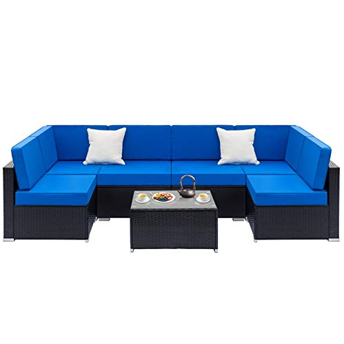 YF-Fully Equipped Weaving Rattan Sofa Couch Sofa Set-2 Middle Sofas & 4 Single Sofas & 1 Coffee Table; for Small Apartment Living Room; Black Embossed
