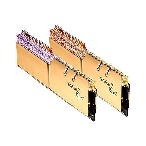 Dreizack Z, Entweg Trident Z Royal 16G (8Gx2) 3600MHz (F4-3600C18D-16GTRG) Serie de Memoria RGB DDR4 de Alto Rendimiento Dorado