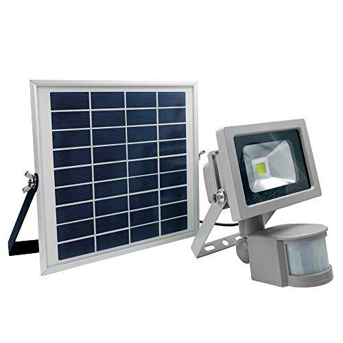 as - Schwabe Chip-LED Arbeitsleuchte mit Bewegungsmelder - 10 W Profi Baustrahler mit Solar Panel – LED Spot geeignet als Arbeitslicht –LED Leuchte für die Außenbeleuchtung – IP 44 - Silber I 46978