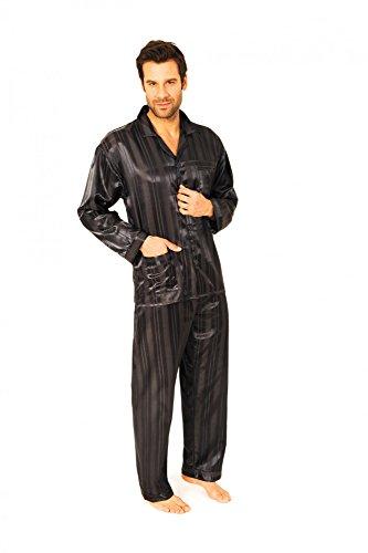 Normann Satin Pyjama lang, durchgeknöpft, Schattenstreifen, 251 101 94 010, Größe2:52, Farbe:anthrazit