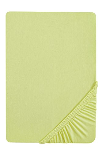 #7 biberna Jersey-Stretch Spannbettlaken, Spannbetttuch, Bettlaken, 90x190 – 100x200 cm, Pistaziengrün