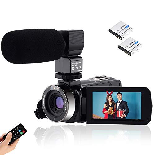 Videocámara de Visión Nocturna CofunKool Cámara de Video Vlogging Full HD 1080P 24MP Pantalla Táctil de 3 Pulgadas Giratoria 270º Zoom Digital 16x con Mando a Distancia