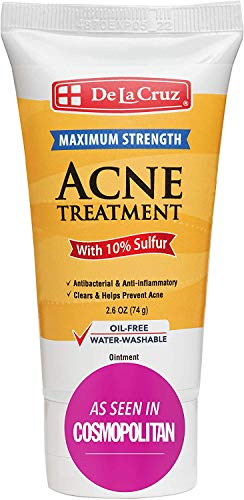 De La Cruz 10% Sulfur Ointment Acne Treatment - Medication to Clear Cystic Acne Pimples and Blackheads on Face and Body - Made in USA - 2.6 oz Tube