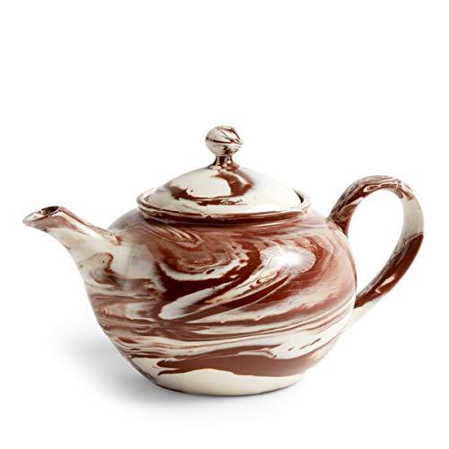 Marbled Teekanne, braun Porzellan bemaltes Steinzeug LxBxH 25x15x14,5cm 800ml