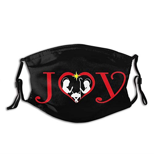 Christian Joy Jesús Belén Fe cristiano Jesús máscara facial bufanda, lavable y reutilizable Bandana con 2 filtros, para hombres y mujeres adultos fiesta Cosplay