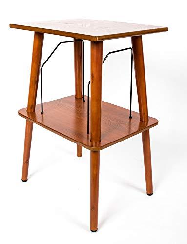 GPO Canterbury Retro Tisch Holzmöbel Plattenspieler mit Aufbewahrung für Schallplatten (für 60-70 Alben), braun, Small