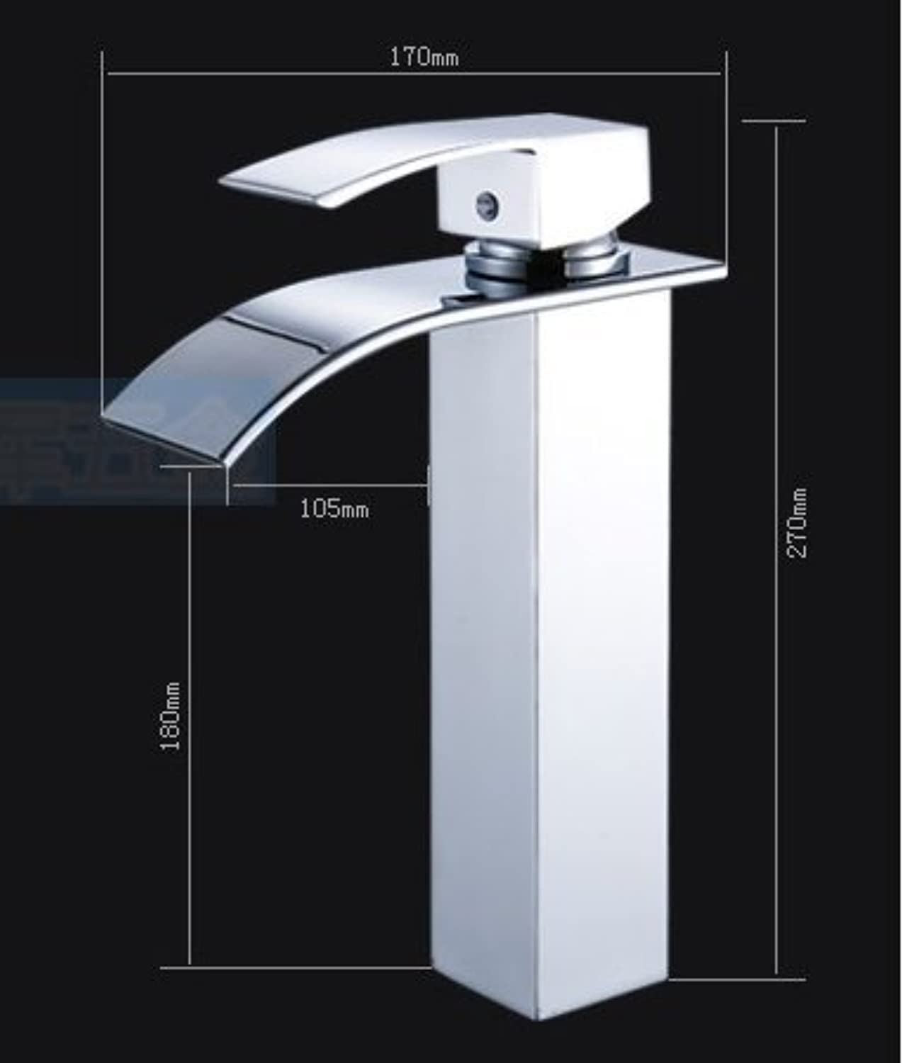 Cold Water Faucet Waterfall & Fully Heat Copper Higher of The Platform of Bath Rooms Bath Rooms Sinks Faucet Sinks, Silvery, B