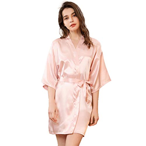 Kimono Badjas For Women Nachthemden Sleepshirts, Women's Badjas Night Robe Zijde Satijn Dames Badjas Nachtjapon Sexy Nachthemd, Bruids For Party Short Wedding (Color : Evening pink, Size : XL)