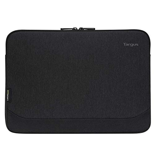 Targus Cypress Sleeve with EcoSmart Modern Style with Durable Water-Repellent Nylon, Back Zip Pocket Pouch, Protective Slipcase fits 13-14-Inch Laptop/Notebook, Black (TBS646GL)