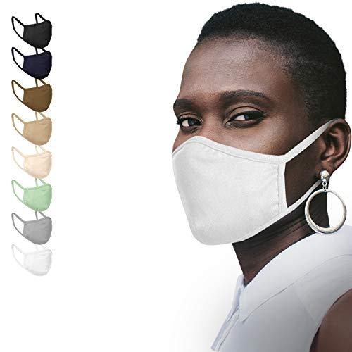 Jago® Gesichtsmaske – Waschbar, 2-lagig, Filterfach, aus Baumwolle, für Damen und Herren, 2/4/6/8/10er Set und Farbwahl – Community-Maske, Behelfsmaske, Alltagsmaske, Stoffmaske (4er, Weiß)