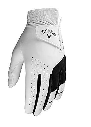Callaway Golf Men's Weather Spann Premium Japanese Synthetic Golf Glove (Large, Single, White, Worn on Right Hand)