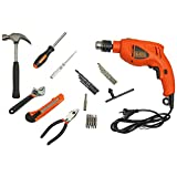 BLACK+DECKER HD500KS 550W 13mm Variable Speed Reversible Impact Drill Kit with 27 tools for Home and Professional use