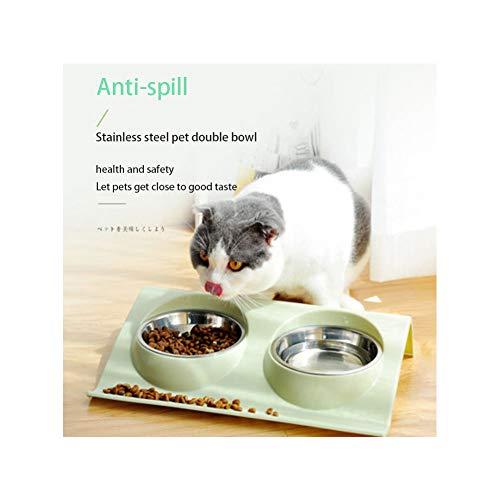 Dubbele RVS Hond Kat Bowls Met Anti Slip & Non Spill Design Voedsel Water Feeder Katten Kleine Honden (Groen)