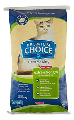 Premium Choice Carefree Kitty Extra Strength Unscented with Baking Soda Clumping Cat Litter - 50lb Bag