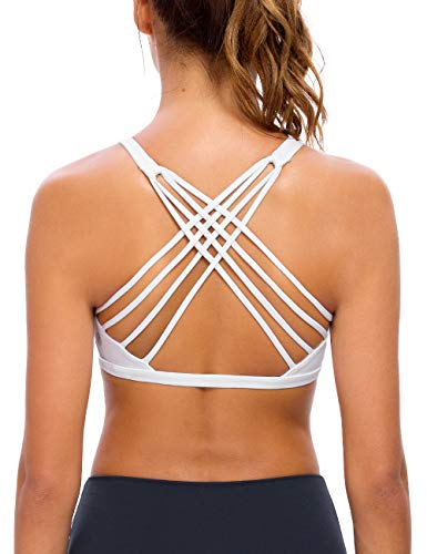 QUEENIEKE Womens Yoga Sport Bra Light Support Strappy Free to Be Bra Size L Color White Across