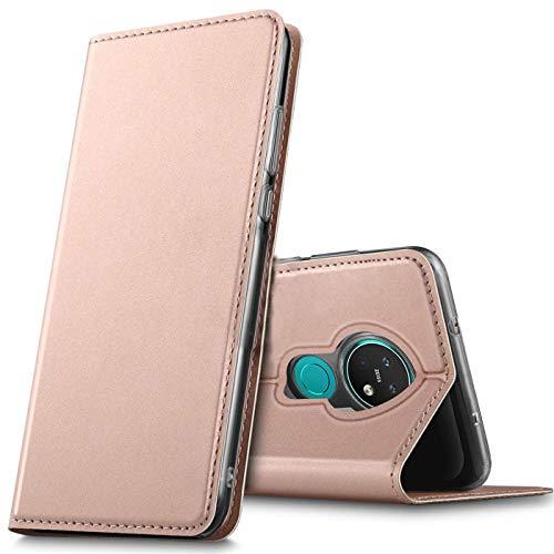 Verco Handyhülle für Nokia 6.2, Premium Handy Flip Cover für Nokia 6.2 Hülle [integr. Magnet] Book Hülle PU Leder Tasche, Rosegold