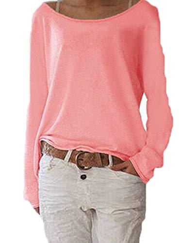 Samhuiyuan Damen Pulli Langarm T-Shirt Rundhals Ausschnitt Lose Bluse Langarmshirts Sweatshirt Hemd Pullover Sweatshirt Oberteil Tops Shirts (M, Pink)