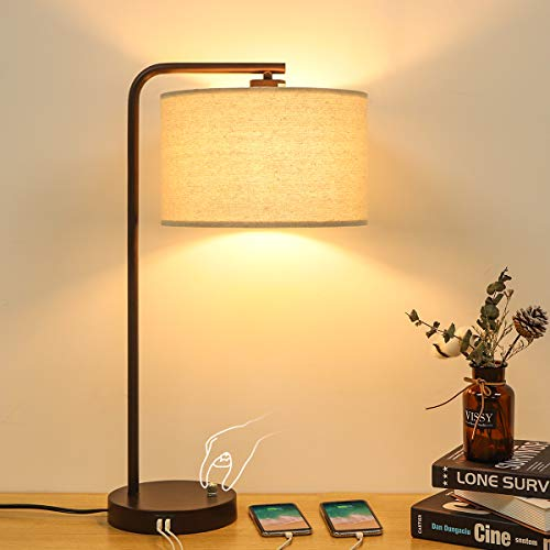 Side Table Lamp with Dual USB Ports, Dimmable Bedside Lamp Modern Nightstand Lamp Desk Reading Lamp...