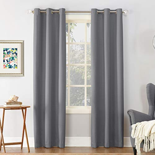 "Sun Zero Cooper Thermal Insulated Room Darkening Grommet Curtain Panel, 40"" x 84"", Gray"