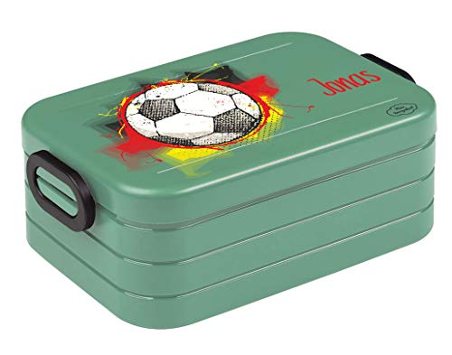 *Mein Zwergenland Bento Brotdose Take A Break midi mit Namen Nordic Green, Fußball*