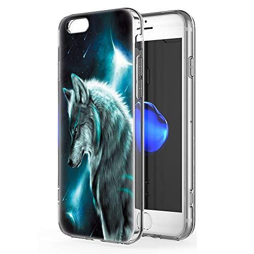 Pnakqil Funda Apple iPhone 6 Plus / 6s Plus Transparente Silicona Carcasa Ultrafina Suave TPU Piel Antigolpes Protectora Case Cover Compatible con Teléfono Apple iPhone6Plus, Lobo 02