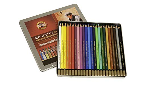 Koh-I-Noor Mondeluz Aquarelle Watercolor Pencil Set, 24 Assorted Colored Pencils in Tin, 1 Each (FA3724.24)