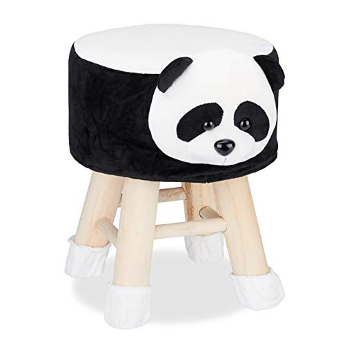 Relaxdays Tierhocker Panda, Dekohocker Kinder, Abnehmbarer Bezug, Holzbeine, gepolstert, Kinderhocker Tiere, schwarz-weiß