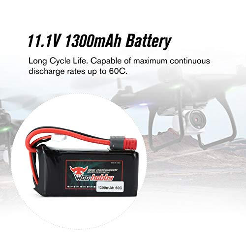 fgjhfghfjghj Woo-hobby RC LiPo Batería 3S 11.1V 1300mAh 60C Batería recargable con enchufe T para RC Avión Drone Barco Accories