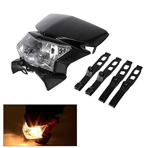 Keenso Motorrad-Scheinwerferbrille, modifiziert, Universal Moto Street Fighter ATV Scooter, Scheinwerferblende, Tagfahrlicht, Schwarz
