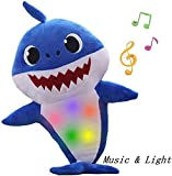 Baby Shark Toy Plush Baby Toy Sing Pop Songs Will Shine, is a Gift for Boys and Girls (Blue)