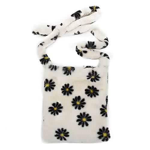 liuduo Bolso del patrón de la margarita, bolso del mensajero de las mujeres, bolsos del hombro de la felpa de las mujeres, bolso grande de la capacidad