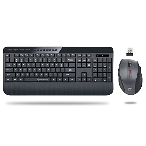 Wireless Keyboard and Mouse Combo, E-YOOSO 2.4G Full-Sized Ergonomic Keyboard Mouse Combo with Wrist Rest, 3 DPI Adjustable Wireless Optical Mice with USB Nano Receiver, for Laptop/Windows/Mac OS/PC
