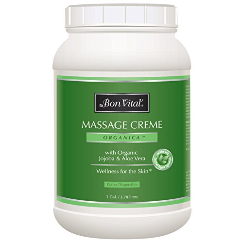 Bon Vital' Organica Massage Crème, Professional Massage Therapy Cream with Certified Organic Ingredients for an Earth-Friendly & Relaxing Massage, Organic Jojoba Oil for Easy Glide, 1 Gallon Jar