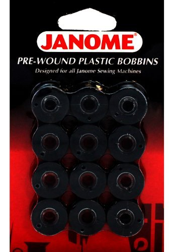 Janome 12 Pack Pre-Wound Plastic Bobbins Black Thread