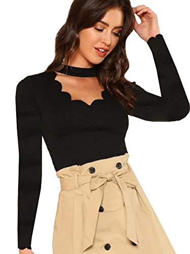 DIDK Damen Bluse Shirts Langarm Choker-Kragen mit Halsband Muschel Cut Outs T-Shirt Tops Oberteil Schwarz L