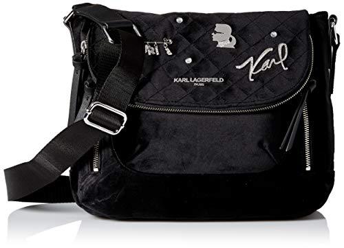 Karl Lagerfeld Paris Damen CARA VELVET APPLIQUE FLAP MESSENGER Kuriertasche, Tiefschwarz/silberfarben, Einheitsgröße